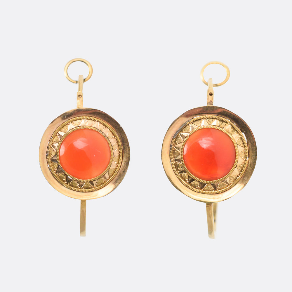 Georgian Carnelian Poissarde Earrings