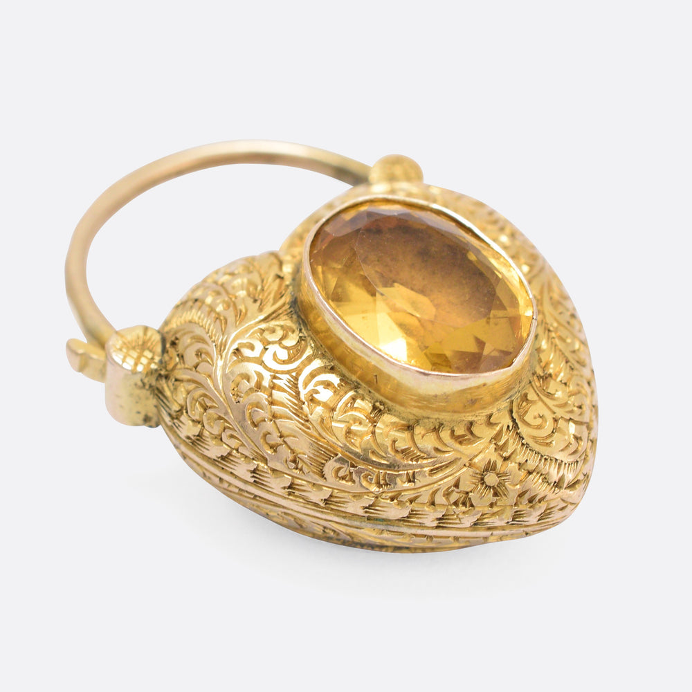 Georgian Citrine Chased Heart Padlock Locket