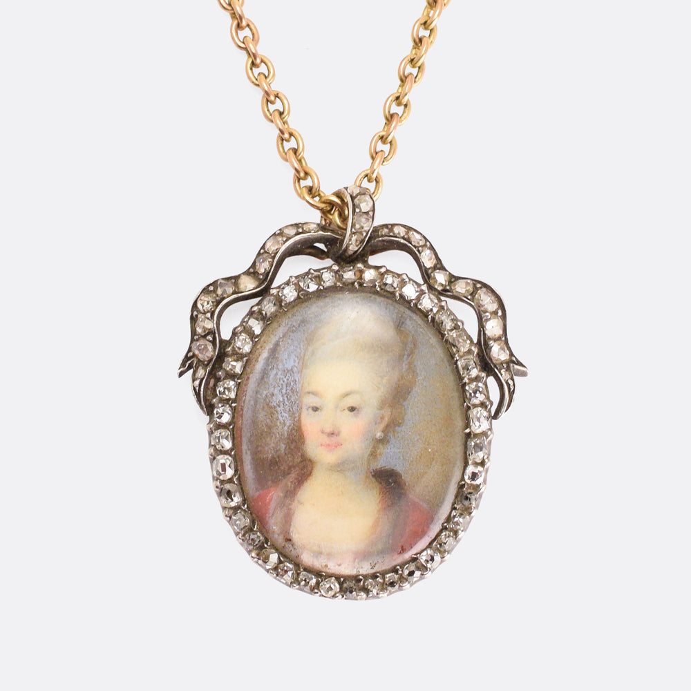 Georgian Diamond-Set Portrait Miniature Pendant