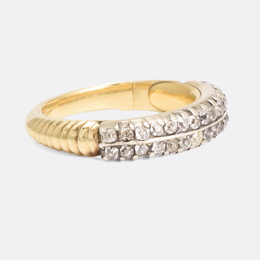 Georgian Diamond Double Row Half Hoop Ring