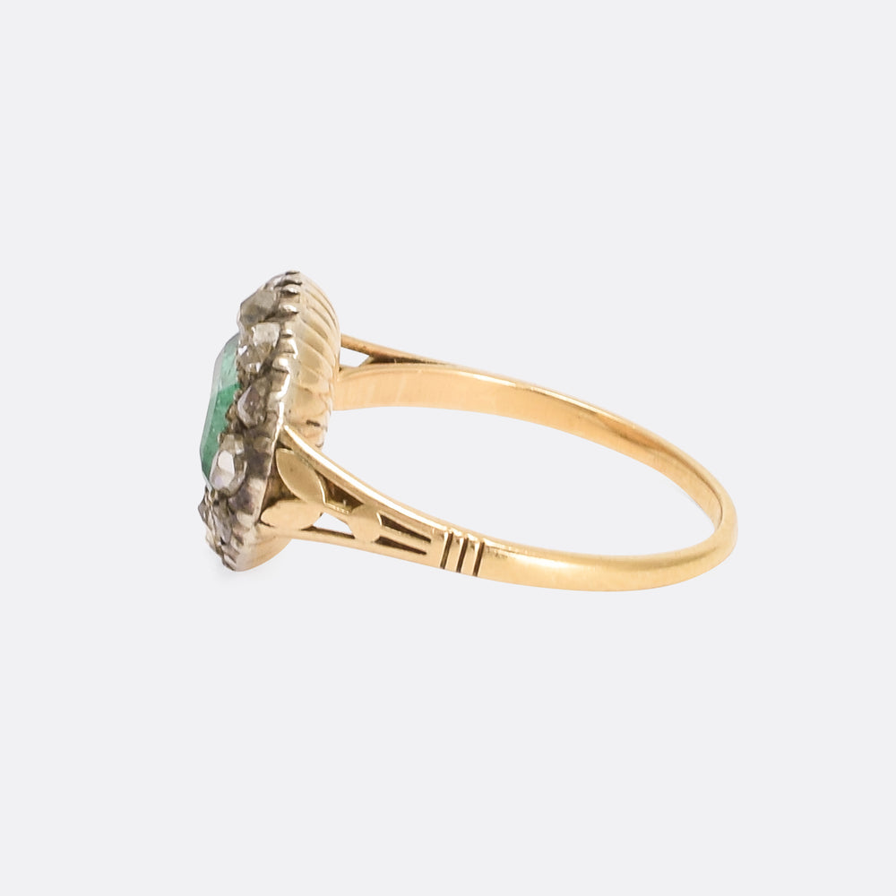Georgian Emerald & Diamond Fluted Cluster Ring
