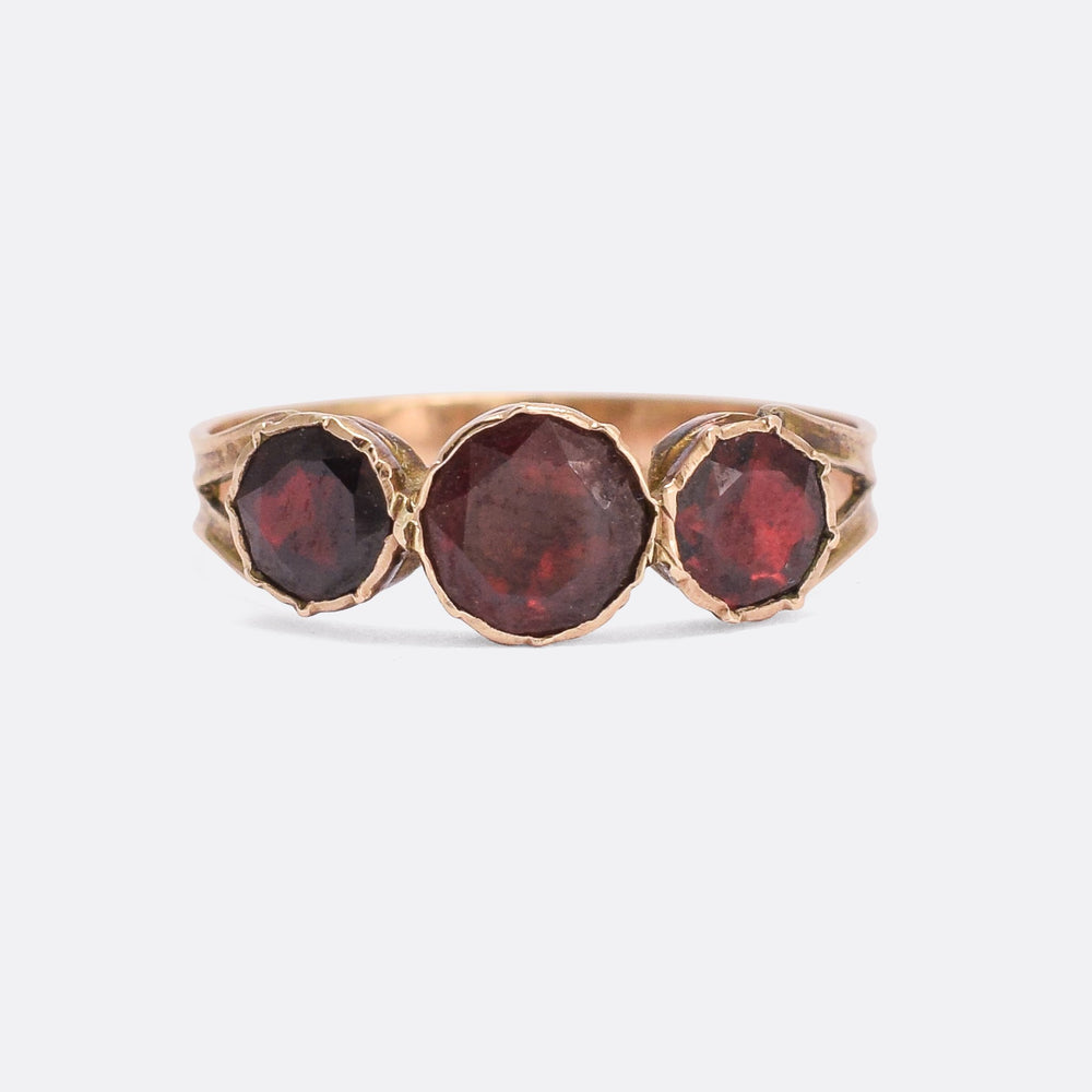 Georgian Flat-Cut Garnet Three-Stone Ring