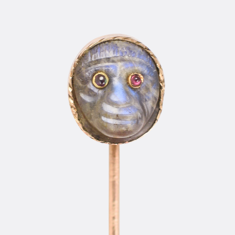 Georgian Labradorite Monkey Head Stick Pin