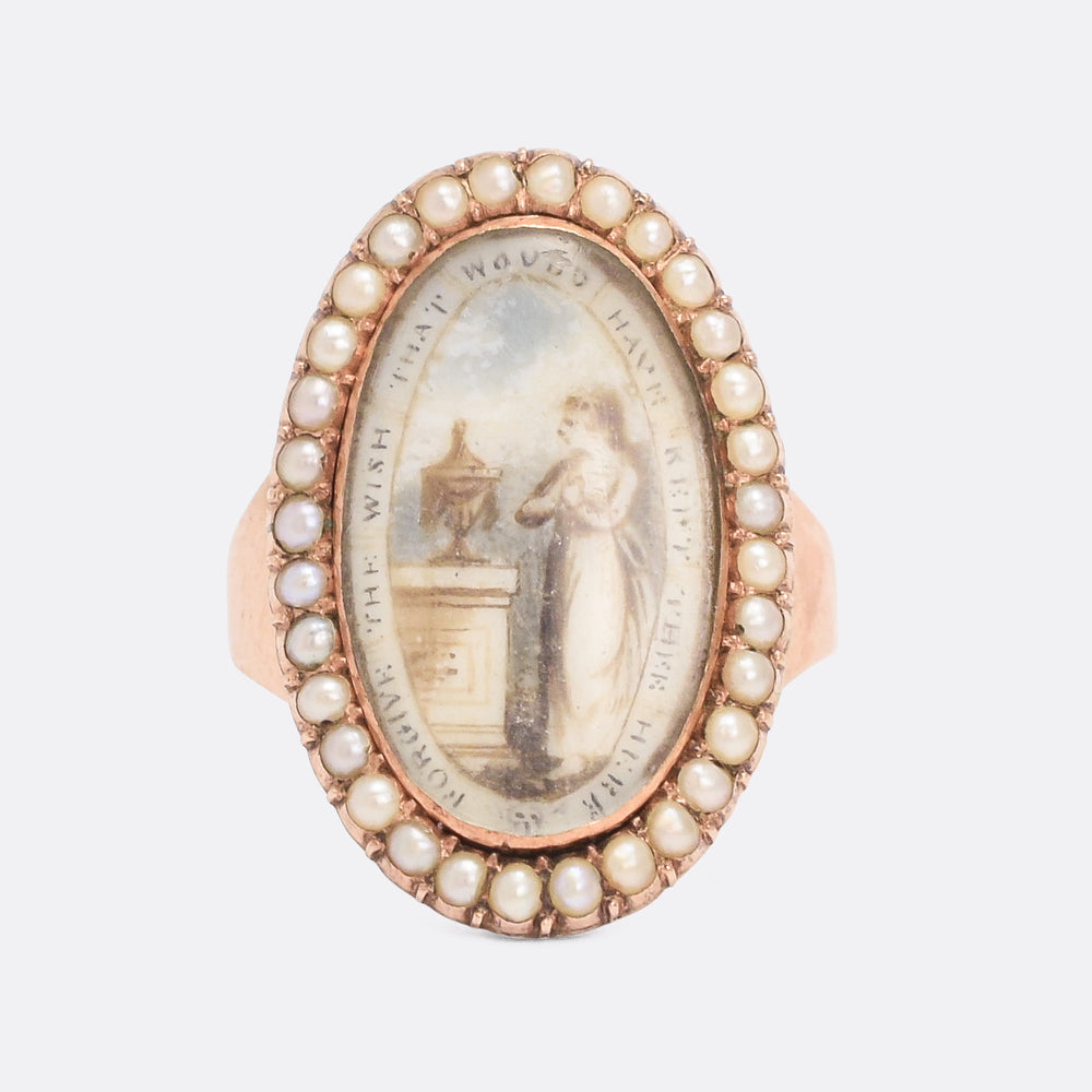 Georgian Navette Pearl Memorial Ring