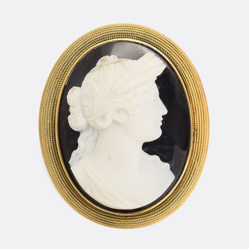 Georgian Onyx Classical Cameo Brooch