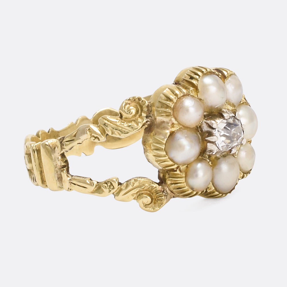 Georgian Pearl & Diamond Flower Cluster Ring