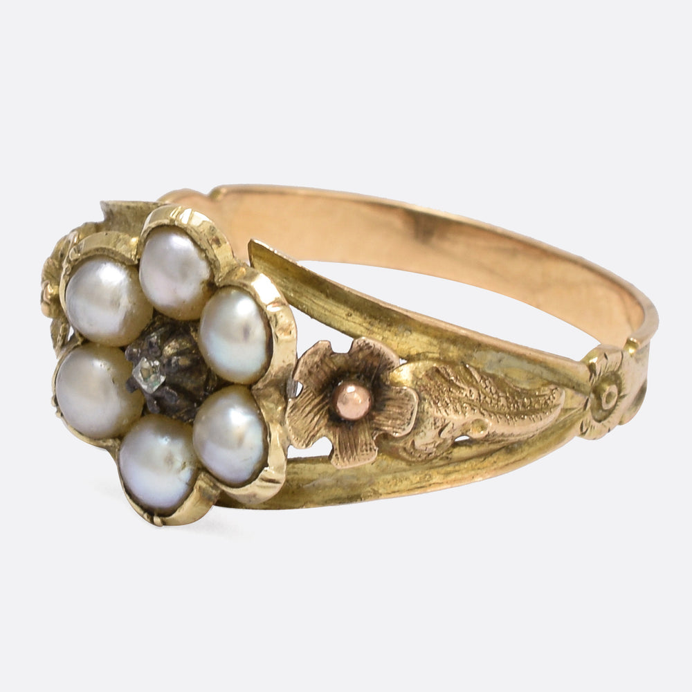Georgian Pearl & Diamond Foliate Cluster Ring