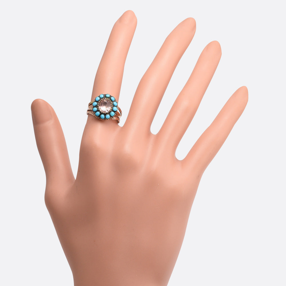 Georgian Pink Topaz & Turquoise Cluster Ring