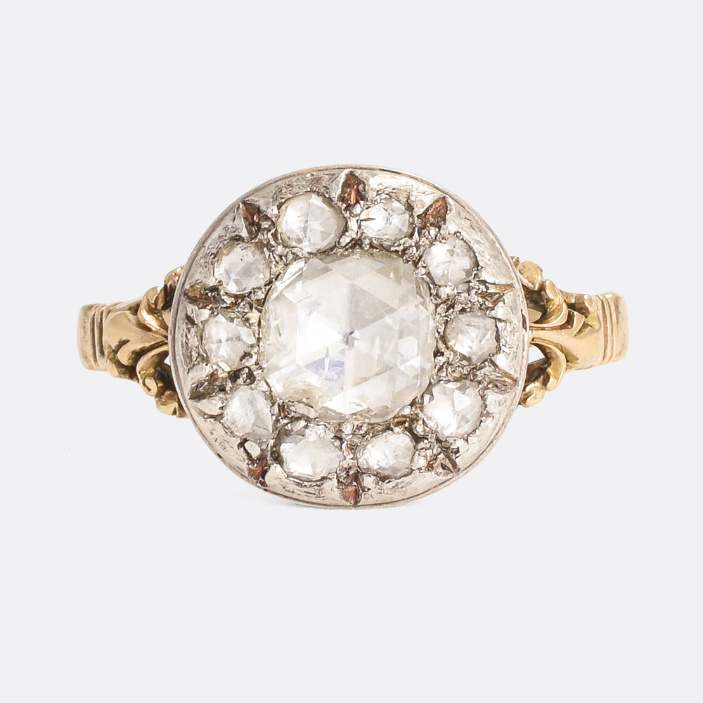 Georgian Rose Cut Diamond Cluster Ring