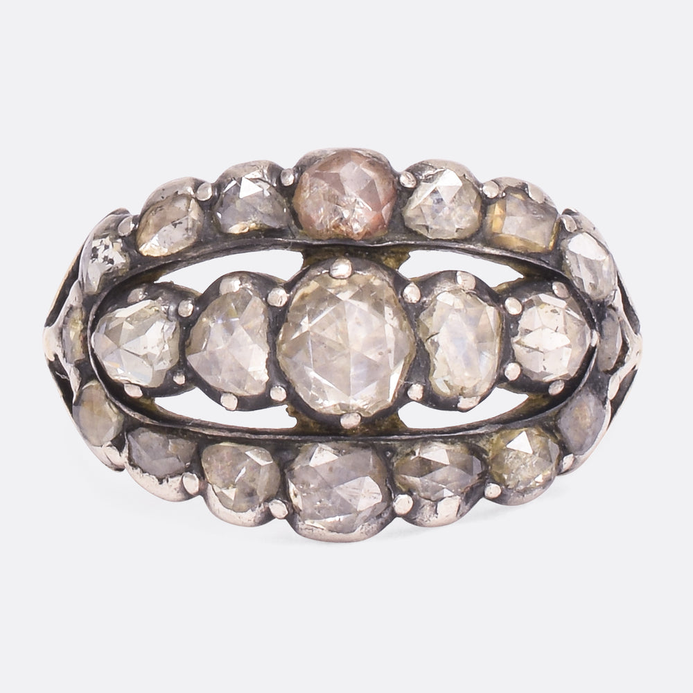 Georgian Rose Cut Diamond Triple Row Ring