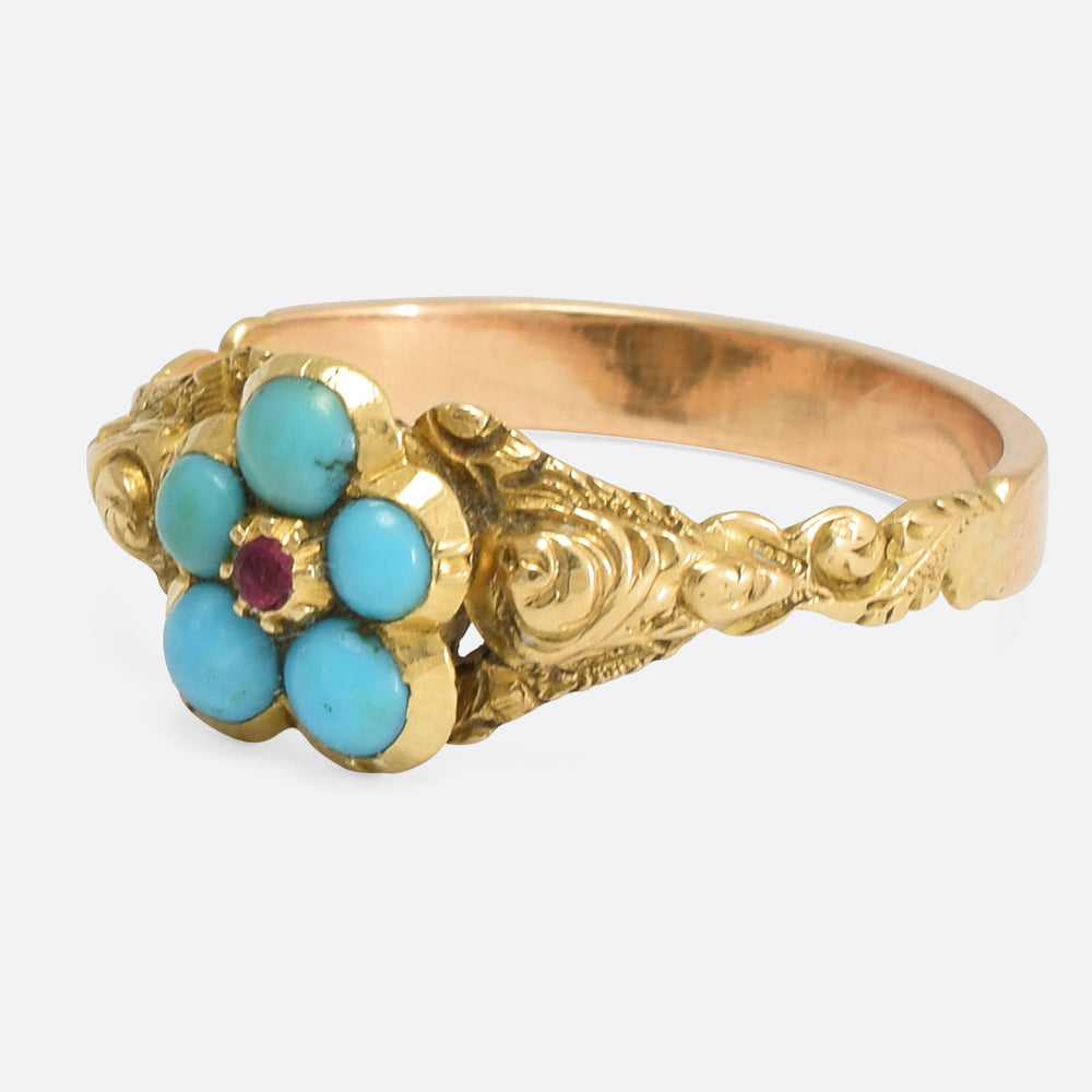 Georgian Tuquoise & Ruby Pansy Ring