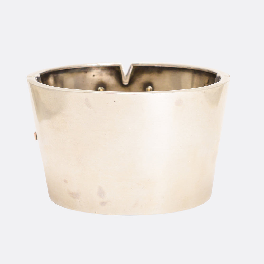 Giant Victorian Silver & Rose Gold Cuff Bangle
