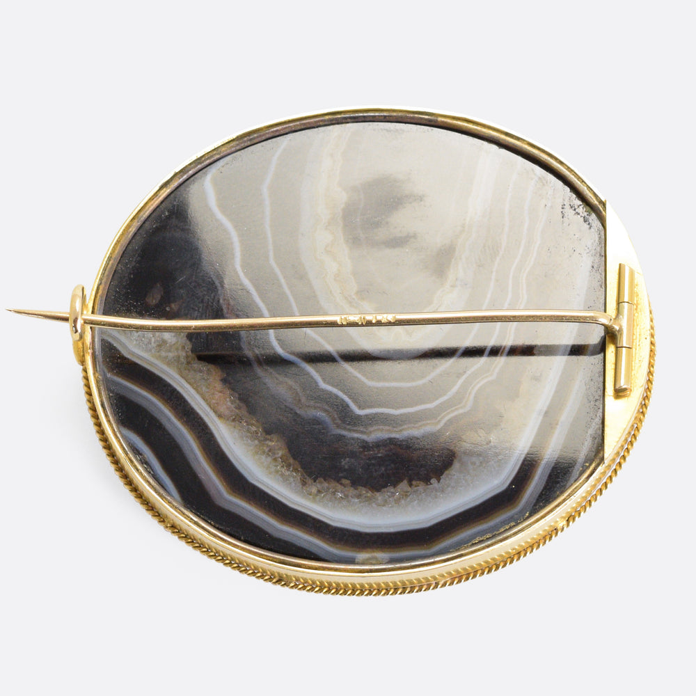 Imperial Russian Banded Agate Brooch