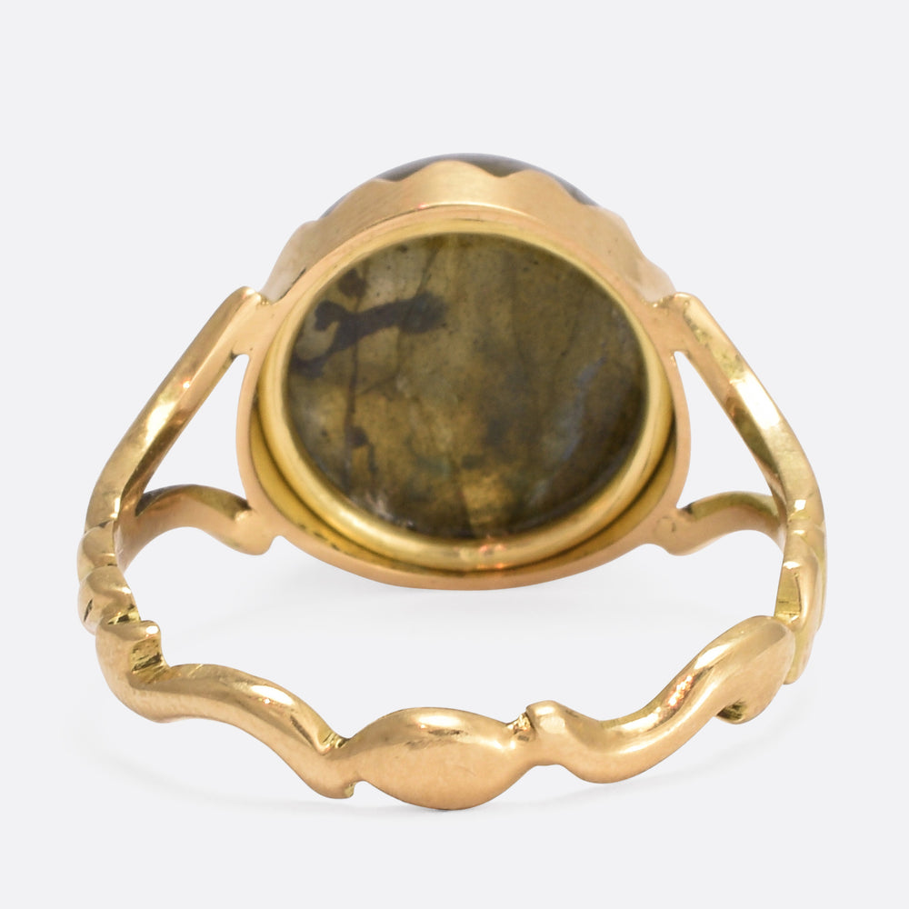 Labradorite Man in the Moon Cameo Ring
