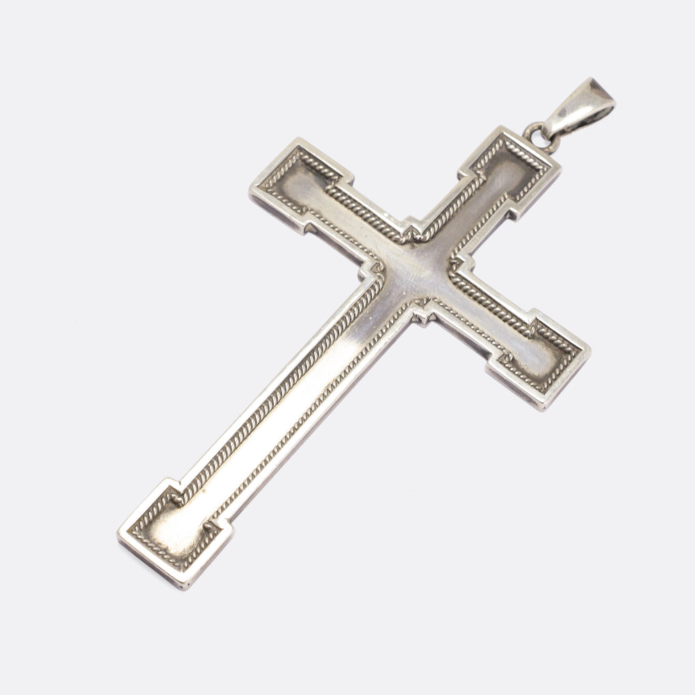 Large Vintage Silver Cross Pendant