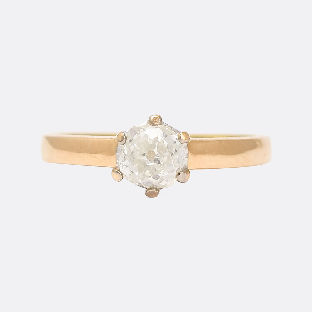 Late Victorian 0.78ct Old Mine Cut Diamond Solitaire Ring