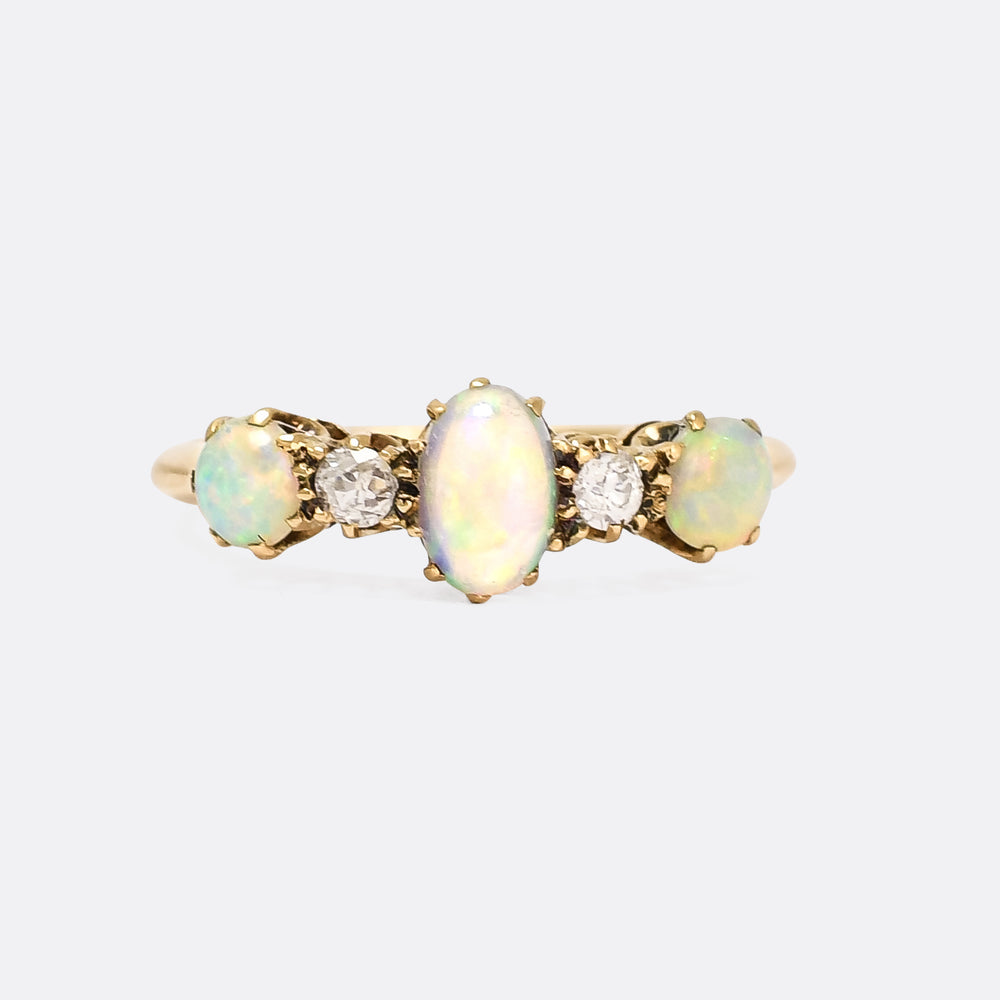 Late Victorian Opal & Diamond 5-Stone Ring