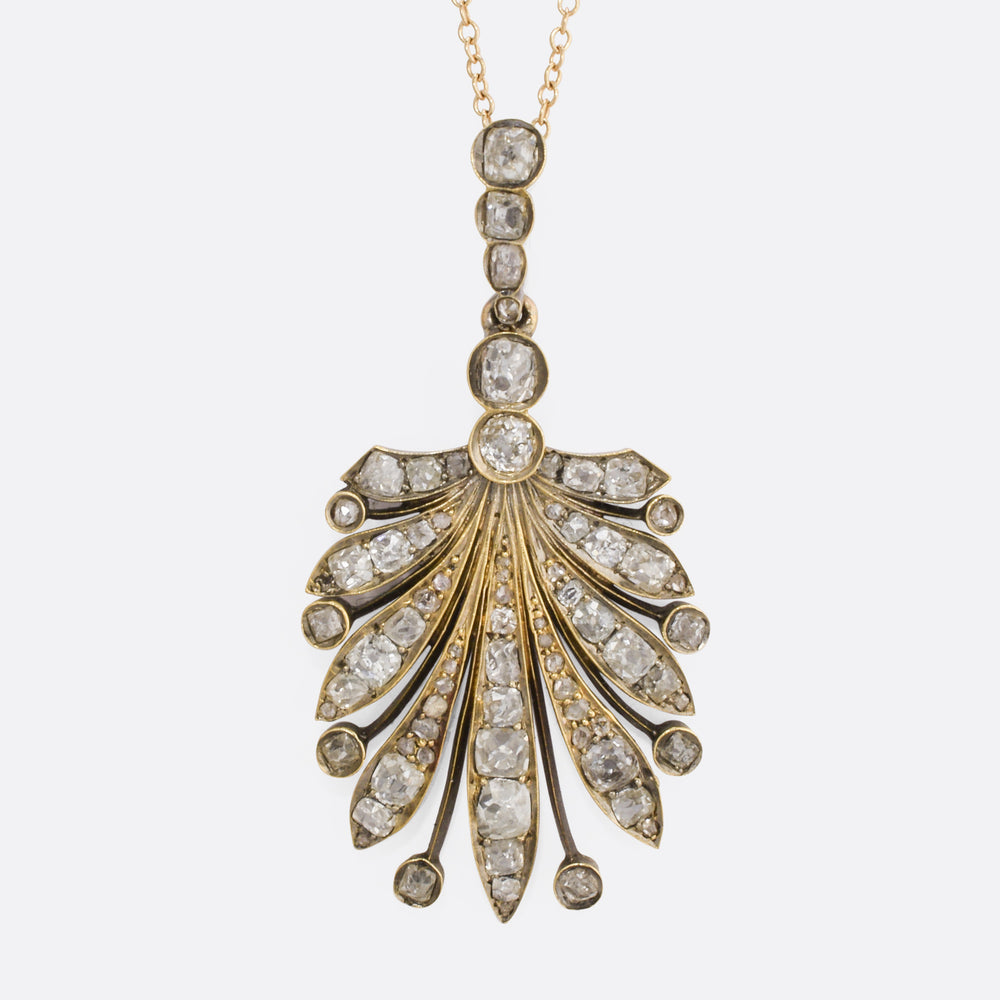 Late Victorian 2.34ct Diamond Shell Pendant