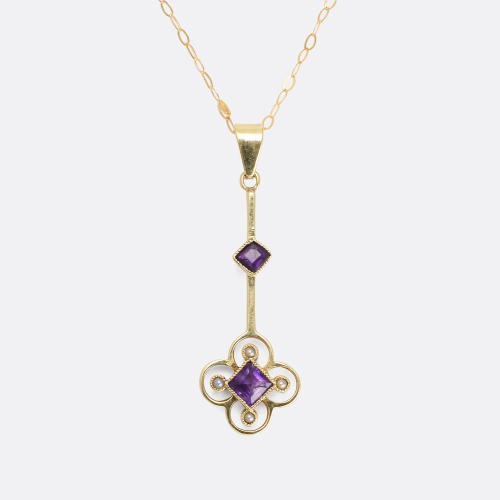 Late Victorian Amethyst & Pearl Quatrefoil Necklace