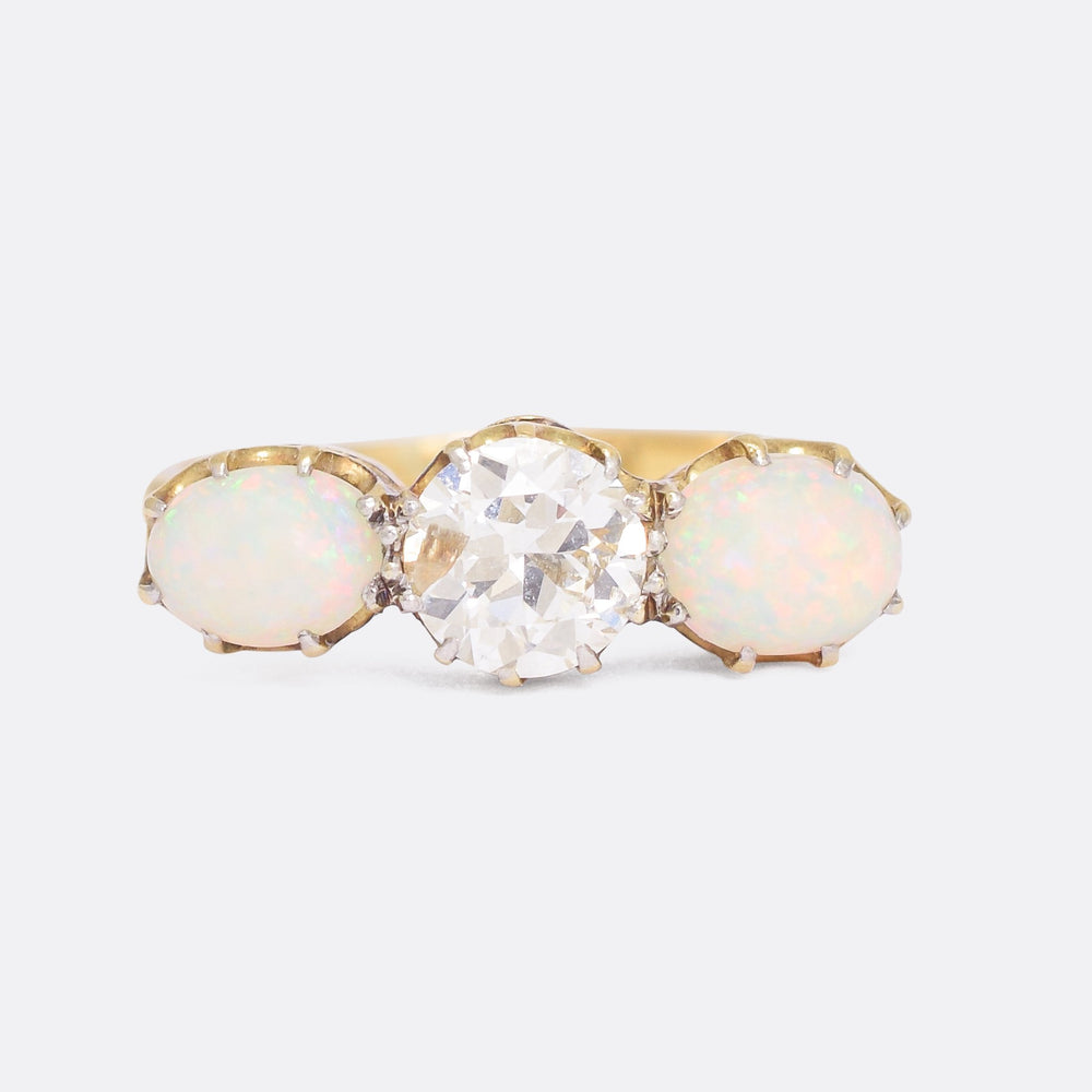 Late Victorian Diamond & Opal Three-Stone Ring