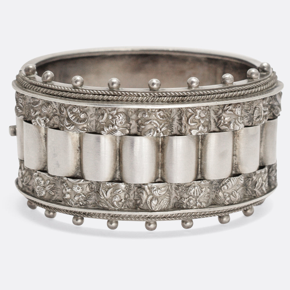 Late Victorian Eclectic Silver Cuff Bangle