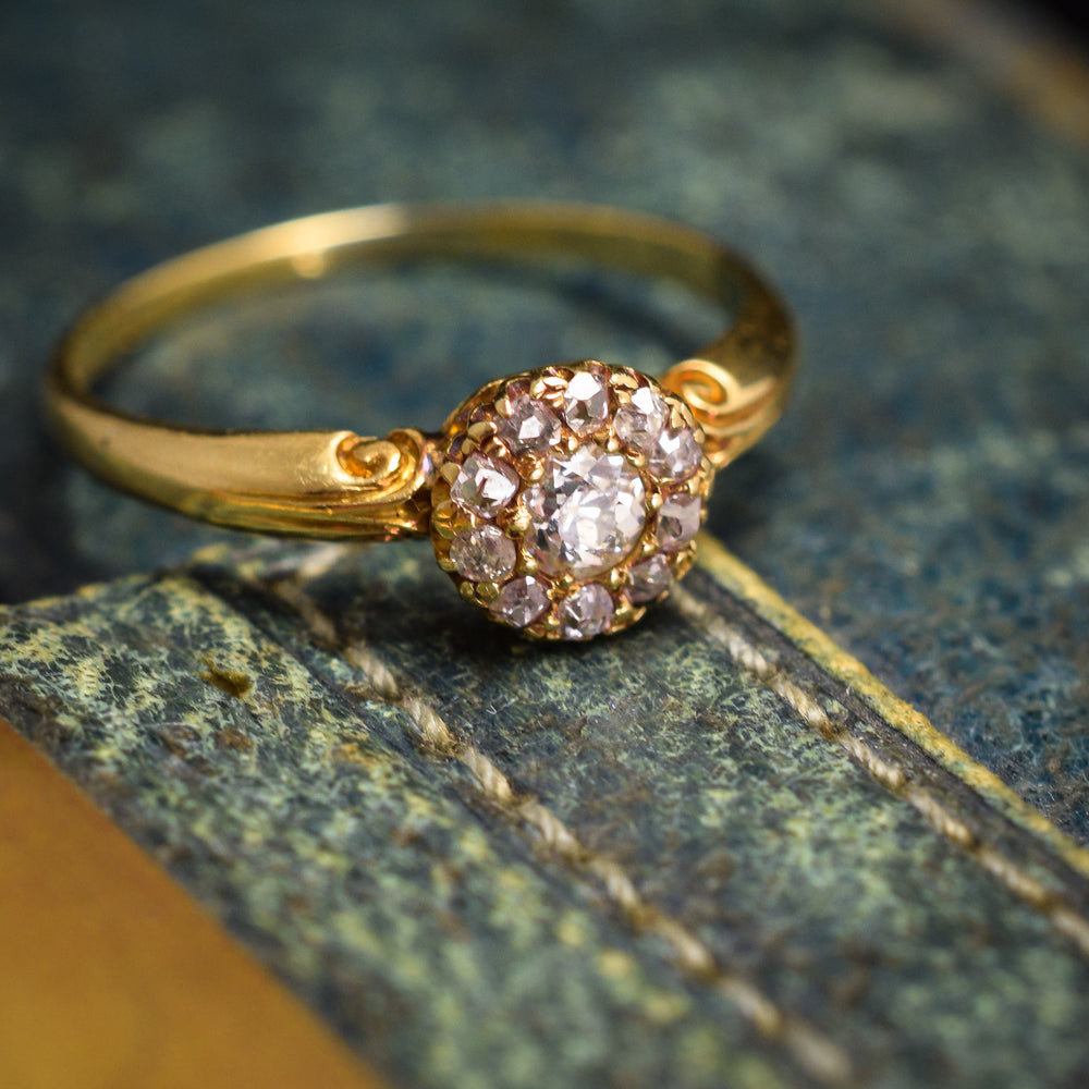 Late Victorian Old Euro Diamond Cluster Ring