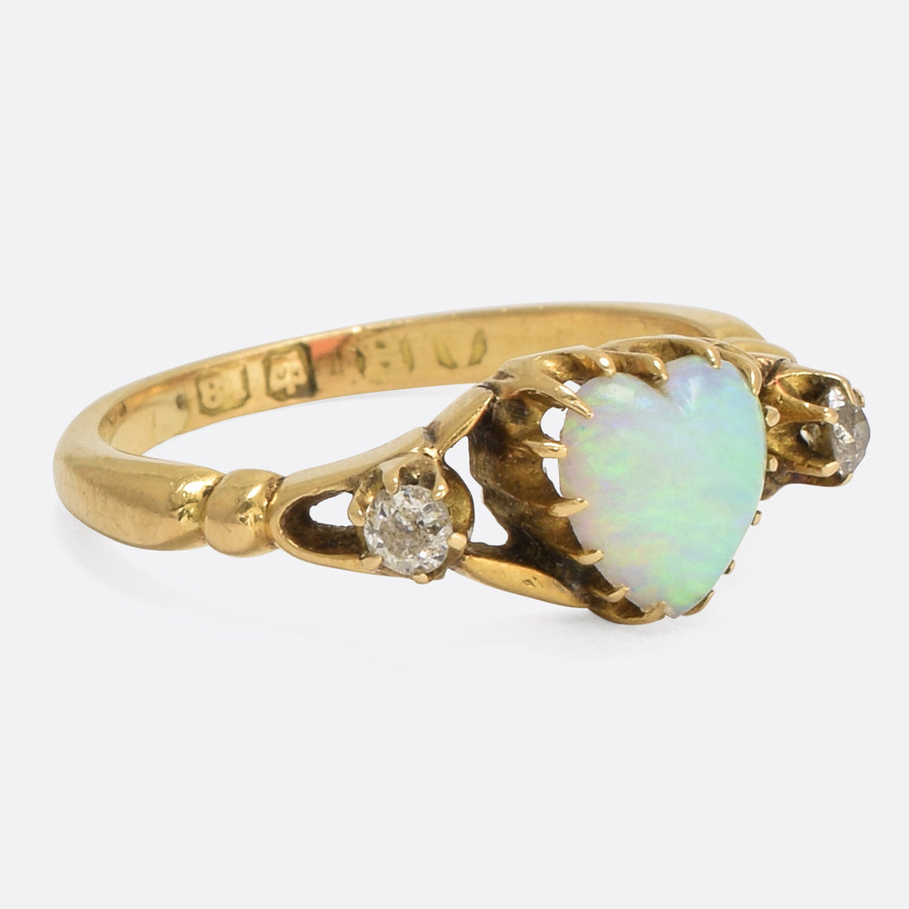 Late Victorian Opal & Diamond Heart Ring