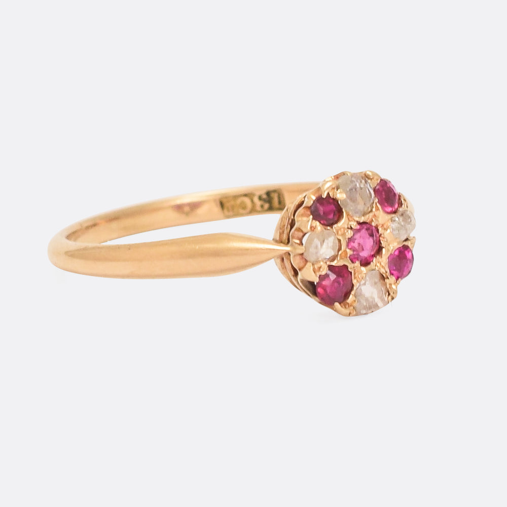 Late Victorian Ruby & Diamond Round Cluster Ring