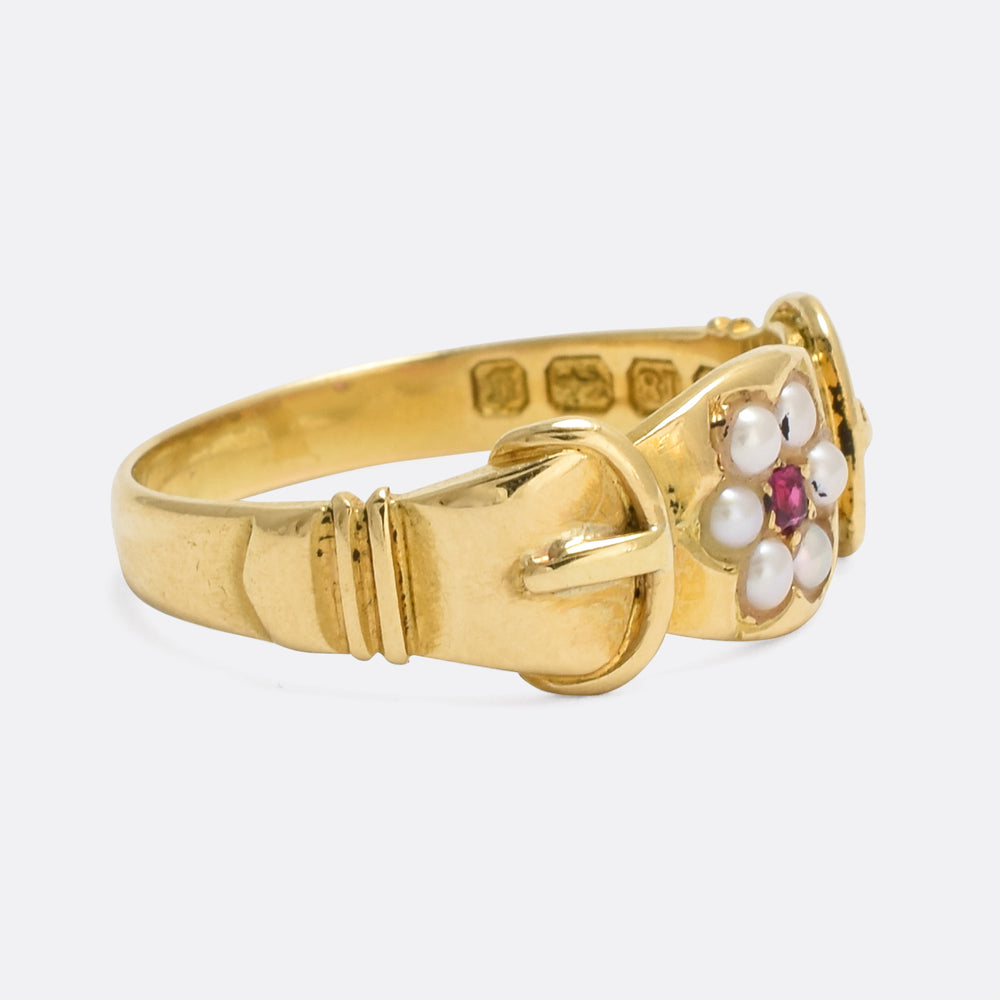 Late Victorian Ruby & Pearl Buckle Ring