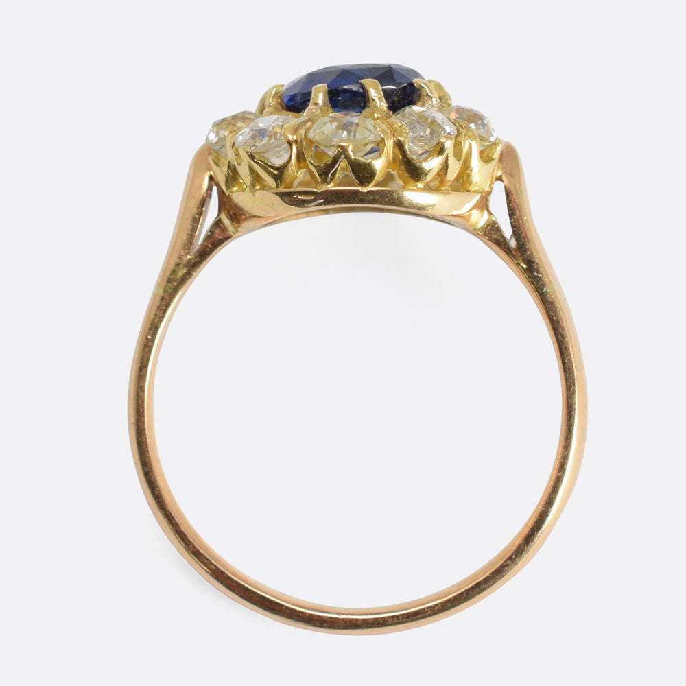 Late Victorian Sapphire & Diamond Cluster Ring