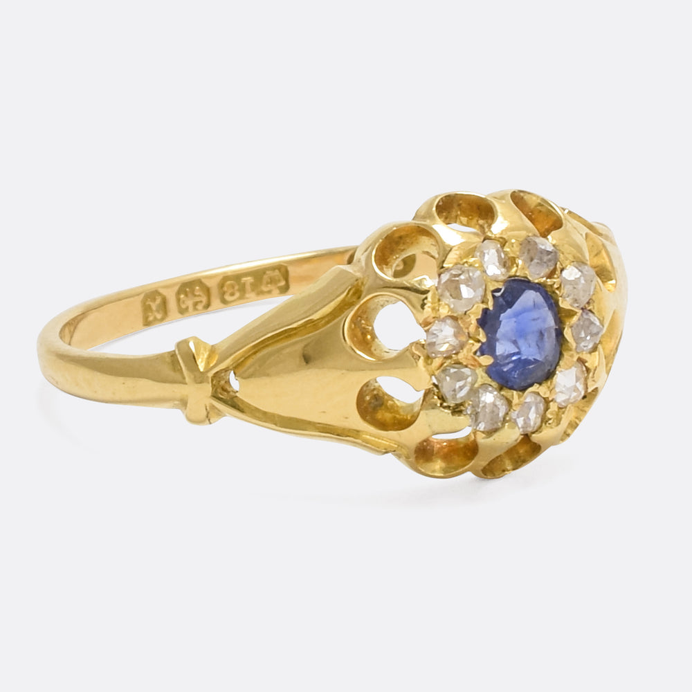Late Victorian Sapphire & Diamond Scalloped Cluster Ring