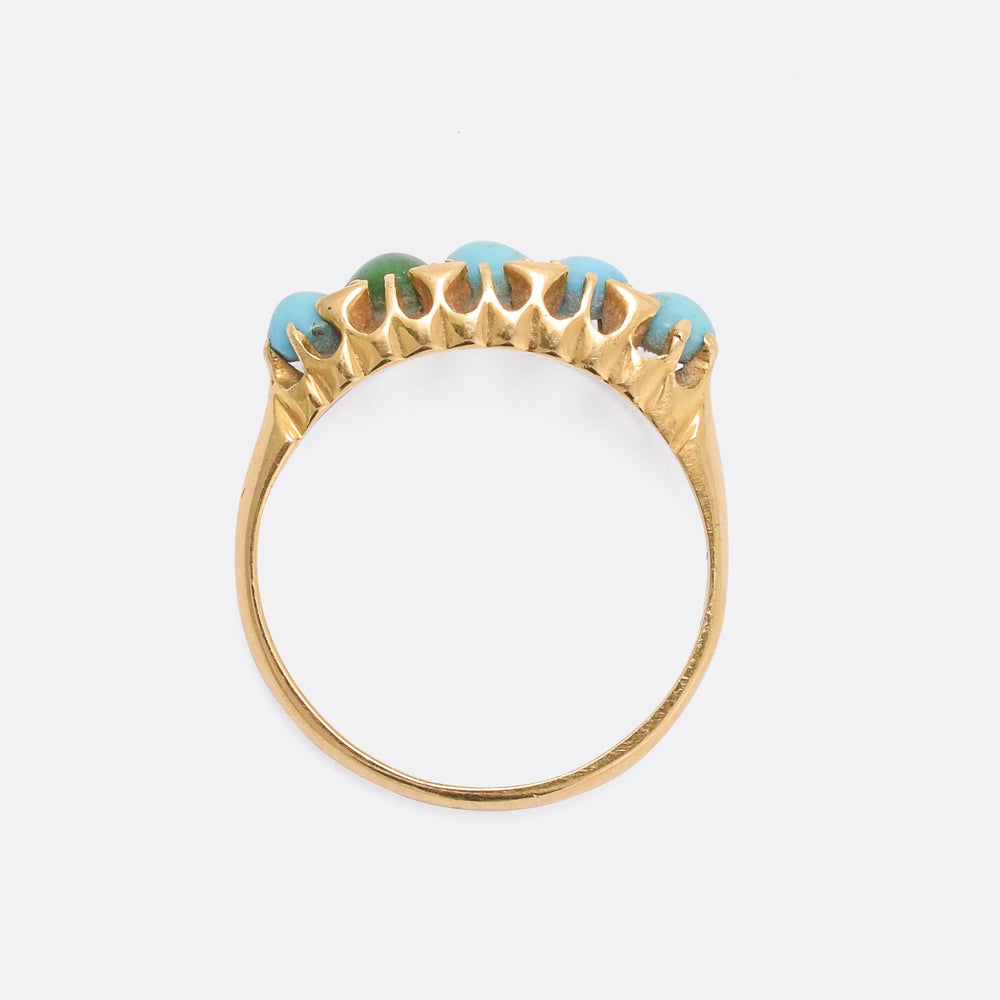 Late Victorian Turquoise 5-Stone Ring