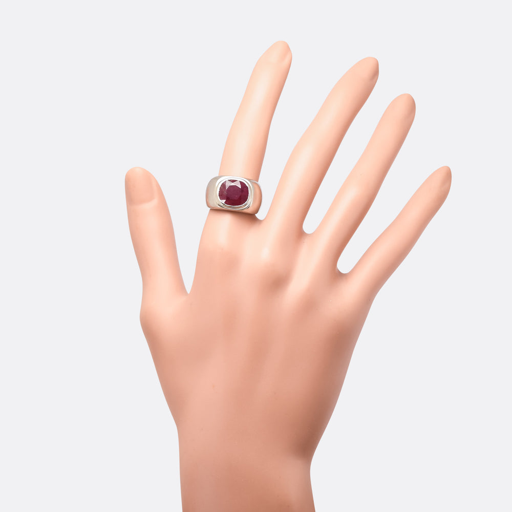 Mid-Century 5.59ct Burma Ruby Signet Ring