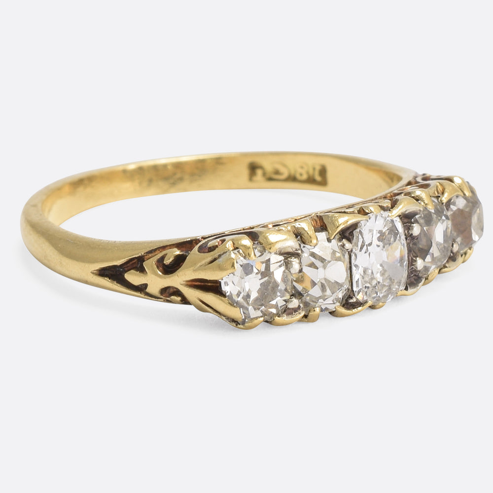 Mid-Victorian 1.15ct Old Cut Diamond 5-Stone Ring