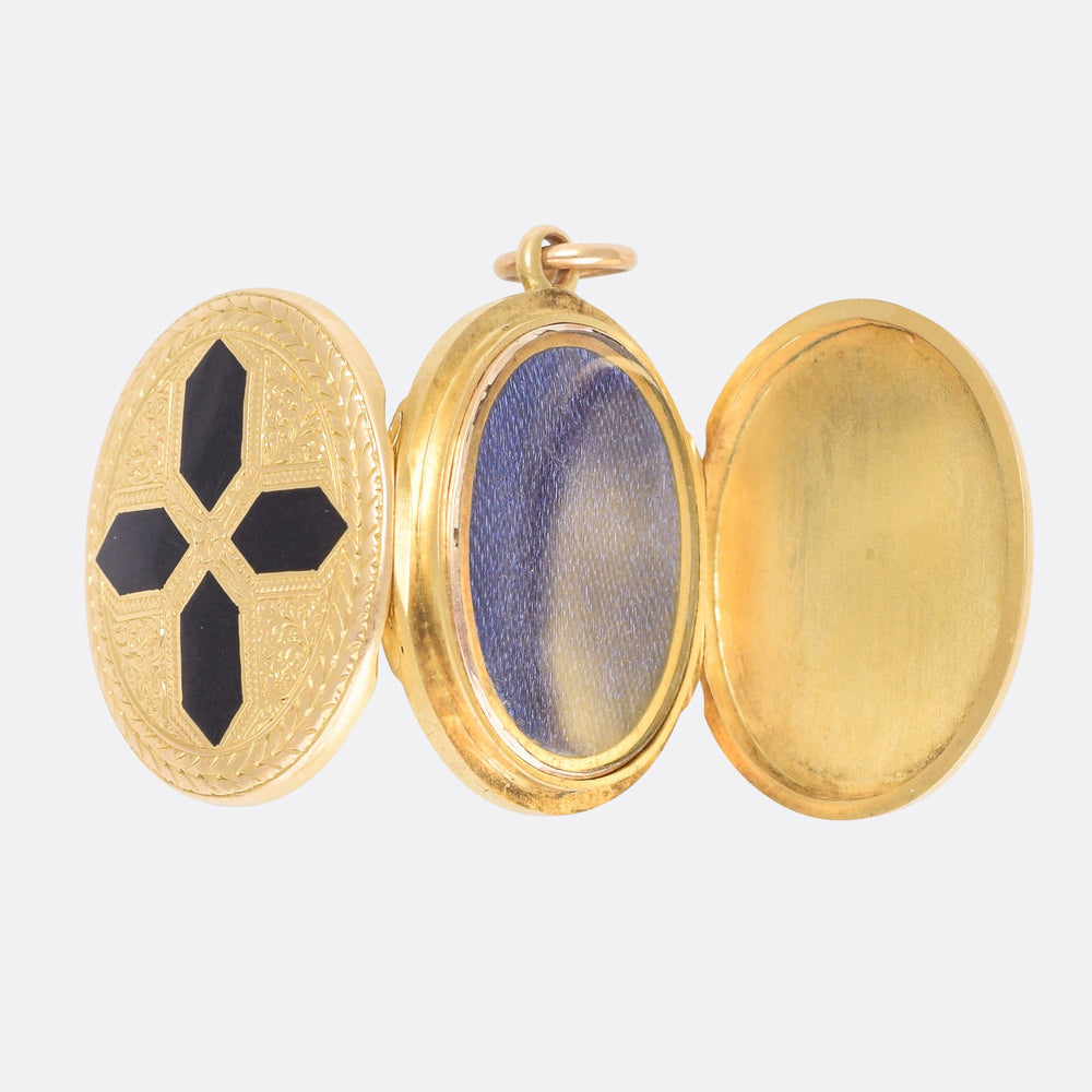 Mid-Victorian Black Cross Double Locket