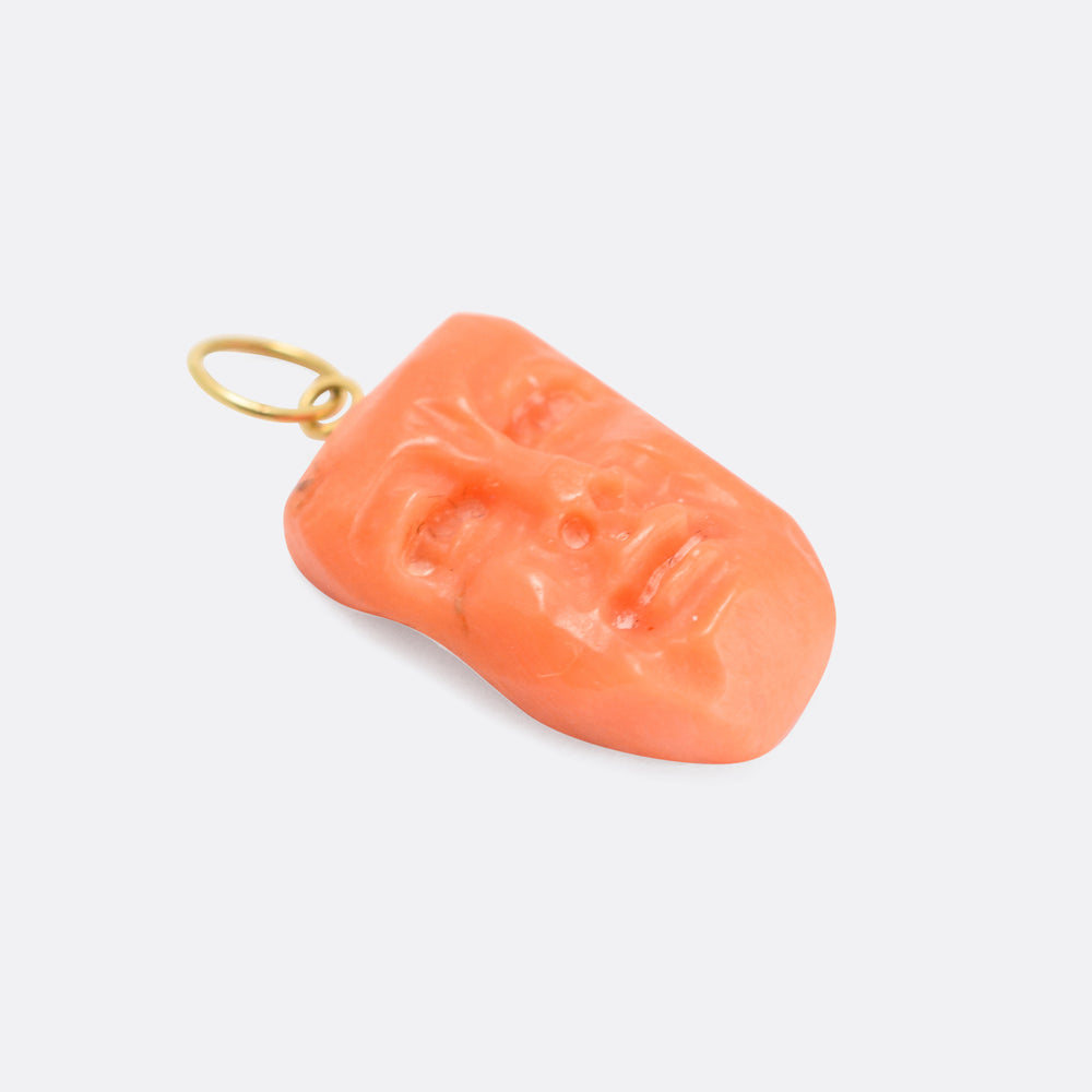 Mid-Victorian Coral Face Pendant
