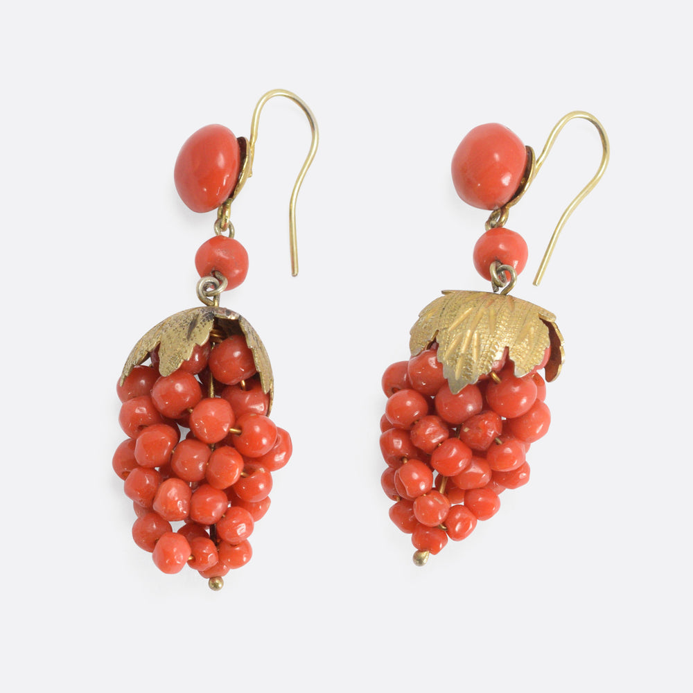 Mid-Victorian Coral Grape Bunch Earrings