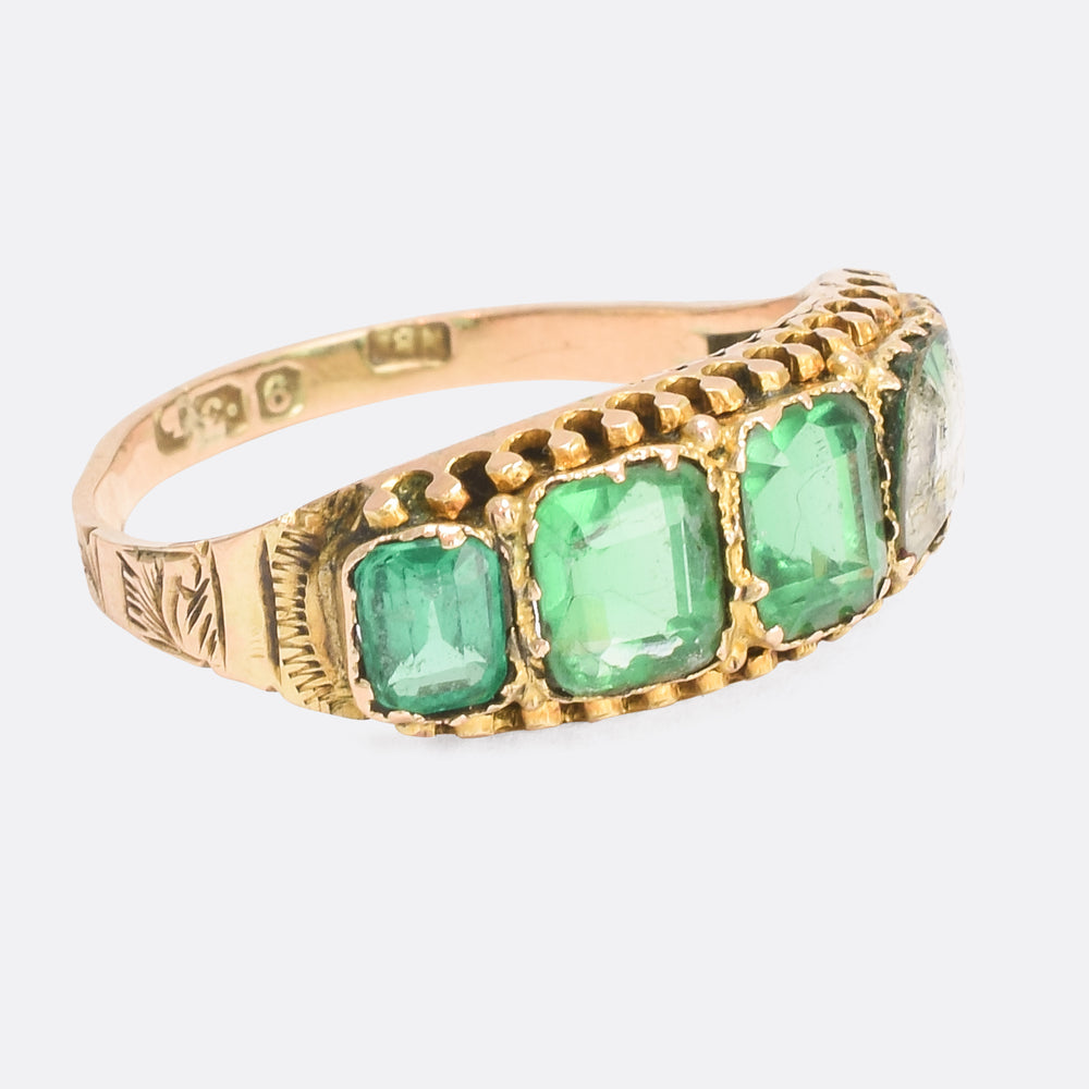Mid-Victorian Green Paste 5-Stone Ring