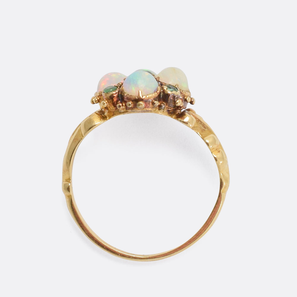 Mid-Victorian Opal & Emerald Cluster Ring