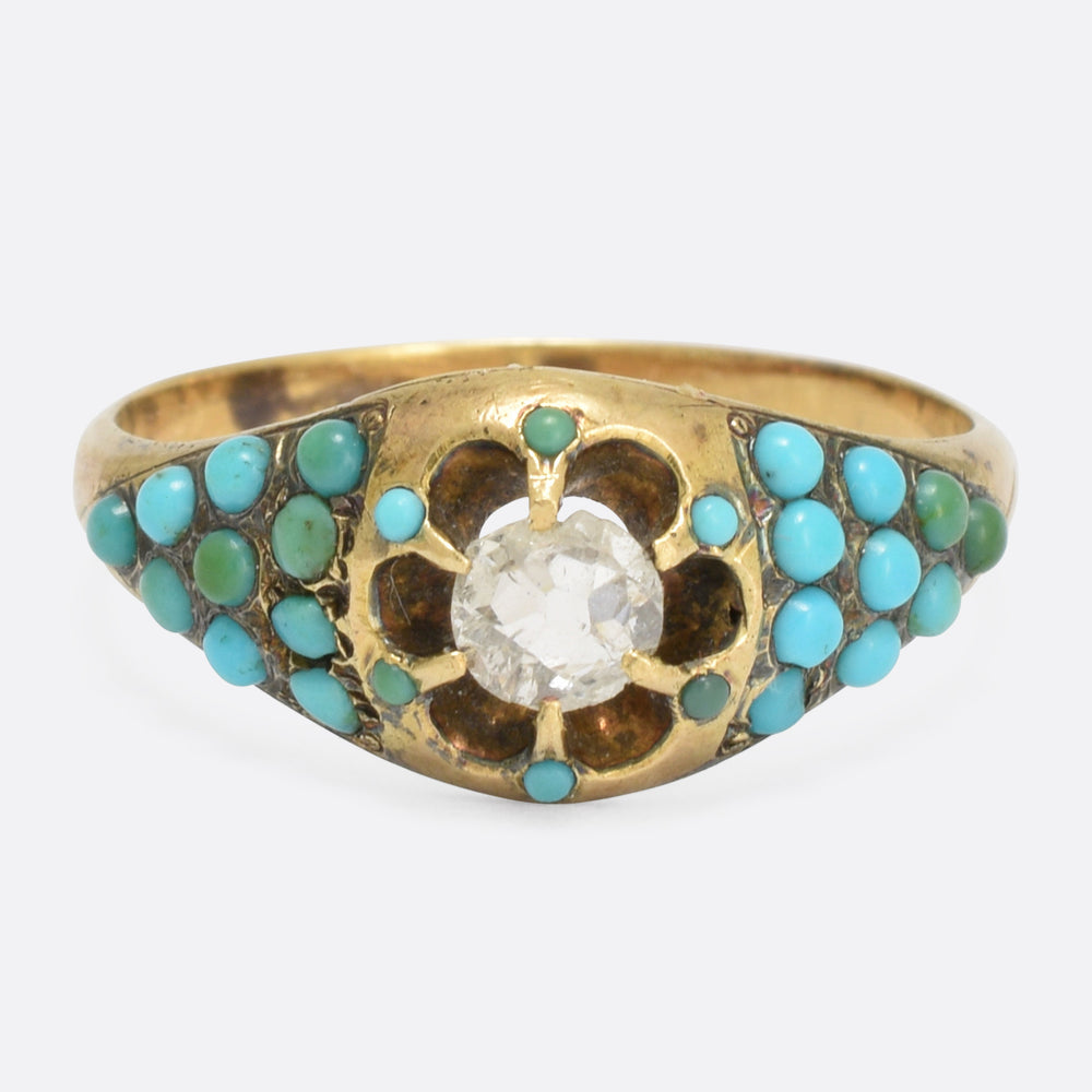 Mid-Victorian Rose Cut Diamond & Turquoise Ring