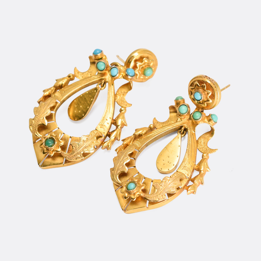 Mid-Victorian Turquoise Crescent & Star Earrings