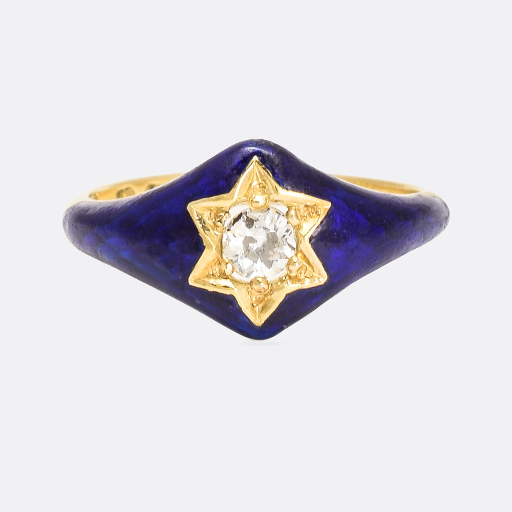 Mid Victorian Blue Enamel Diamond Star Ring
