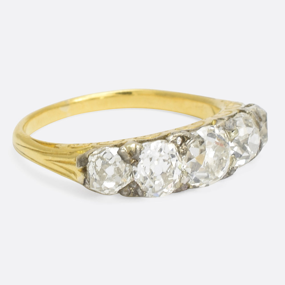 Mid Victorian Cushion Cut Diamond 5-Stone Ring