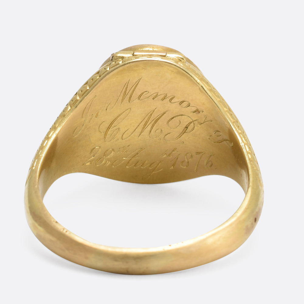 Mid Victorian Hidden Locket Signet Ring