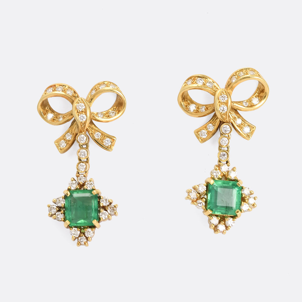 Modern Emerald & Diamond Bow Earrings