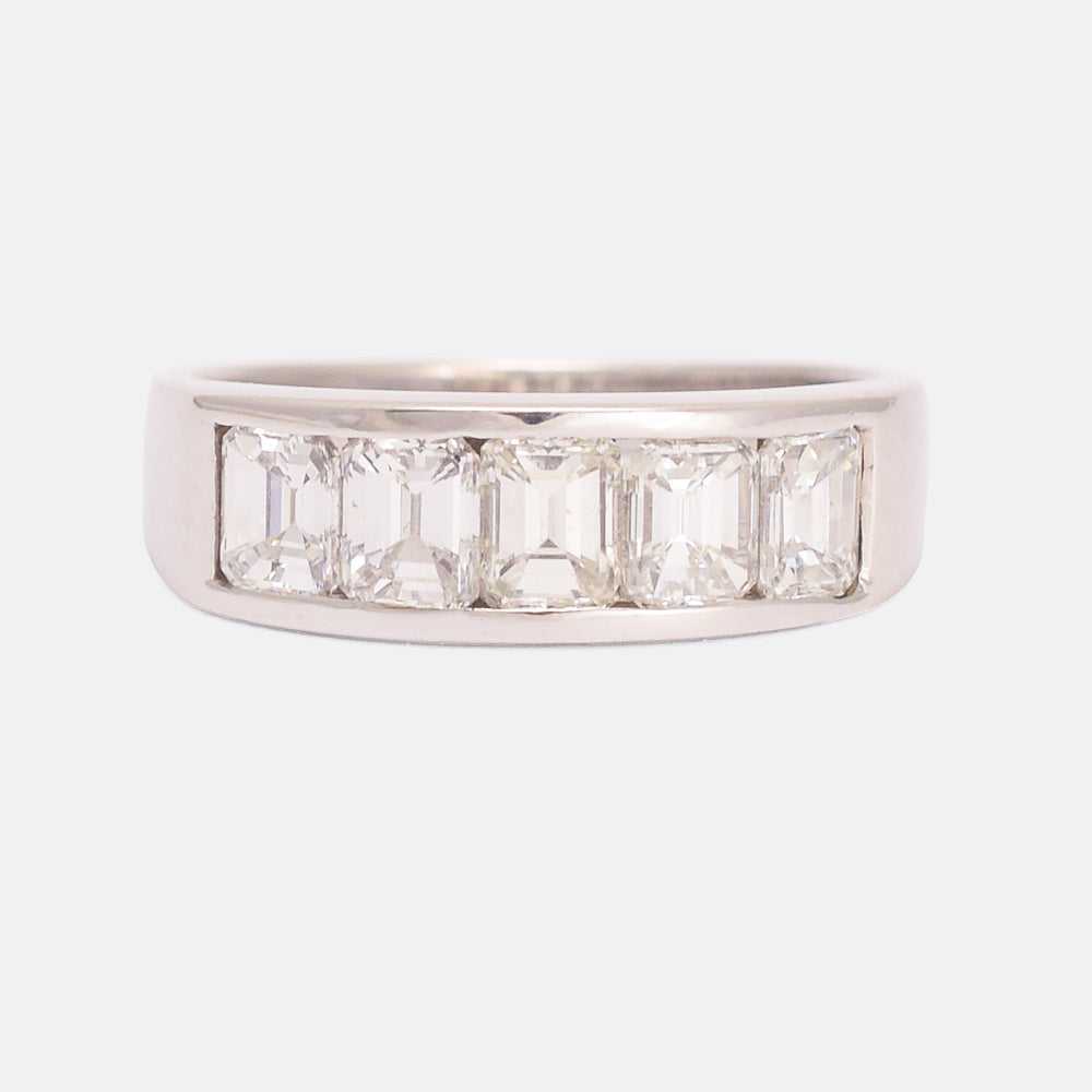 Modern 2 Carat Emerald Cut Diamond Half Eternity Ring