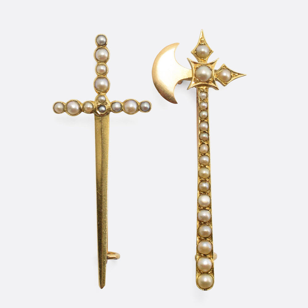 Pair of Victorian Pearl-Set Brooches; Battle-Axe & Longsword