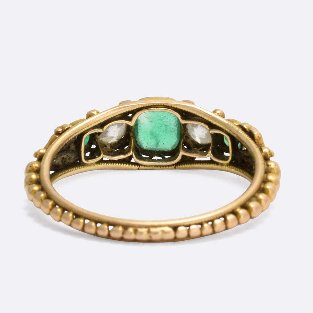 Regency Period Emerald & Diamond Filigree Ring