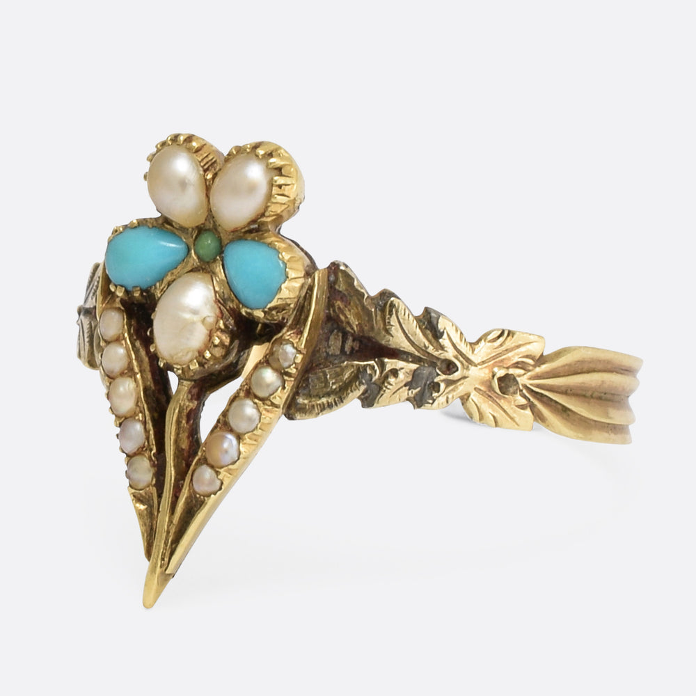Regency Period Turquoise & Pearl Pansy Ring