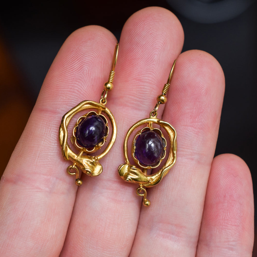 Mid-Victorian Amethyst Snake Earrings